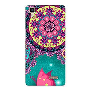 Delighted Vintage Round Pattern Multicolor Back Case Cover for Oppo R7