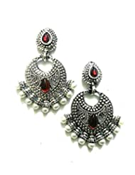 Ethnic Fashion Earrings With Pearl And Coloured Crystals In Silver Finish, Maroon