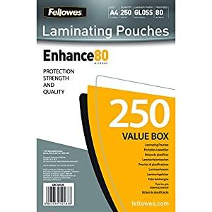 Fellowes A4 Glossy 80 Micron Laminating Pouch (Pack of 250)