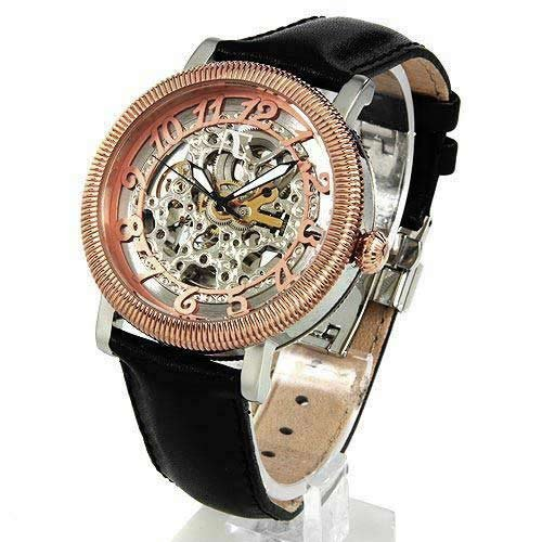 Auguste Galan Rose Gold and Silver Tone Mens Mechanical Skeleton Watch with Black Strap. Model AG-4595