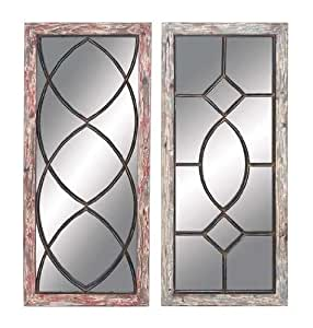 Wood Frames Metal Overlays Home Décor 55467 - Wall Mounted Mirrors