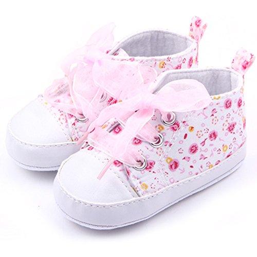 2. Weixinbuy Baby Girl's Floral Prewalker Soft Sole Ribbon Sneaker