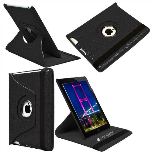 Sanoxy¨ 360 Degrees Rotating Stand Pu Leather Case For Ipad 2/3/4, Ipad 2Nd Generation (Ipad 2/3/4 Crocodile Black)
