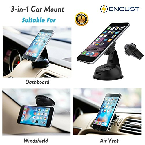 Encust Universal 3 in 1 Dashboard/Windshield/Air Vent Magnetic Car Mount Phone Holder for iPhone 7 SE 6/Plus 5s/ 5c/5, Samsung Galaxy Edge S7 S6, HTC Nexus 6 & Other Cell Phones (Lifetime Warranty) (Lg 3 Accesories compare prices)