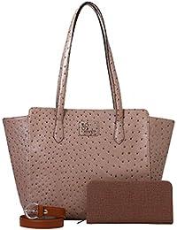 Rivet Beige Hand Bag With Brown Belt & Ladies Wallet