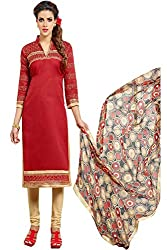 ZHot Fashion Women's Embroidered Un-stitched Dress Material In Cotton Fabric (ZHDM1020) Red