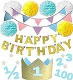 バースデークラウン 【100日祝い ハーフバースデー 1歳 2歳 3歳 年齢シール付】 誕生日 撮影 (ブルー4点セット(HAPPY BIRTHDAYガーランド、フラッグガーランド、ペーパーポンポン、クラウン))
