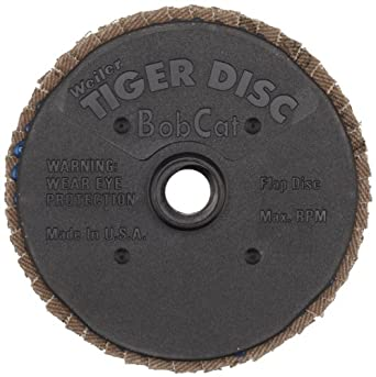 Weiler BobCat Mini Abrasive Flap Disc, Type 29, Round Hole, Plastic Backing, Zirconia Alumina