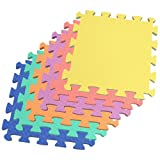"24 Sq. Ft. (set of 24 + borders) 'We Sell Mats' Anti-Fatige Interlocking EVA Foam Flooring-Set of six Multi-Color Tiles-Each 12""x12""x3/8"" Thick"