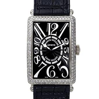 Franck Muller Long Island WFM1000SCDLI Diamonds Automatic White Gold Case Black Leather Men's Watch