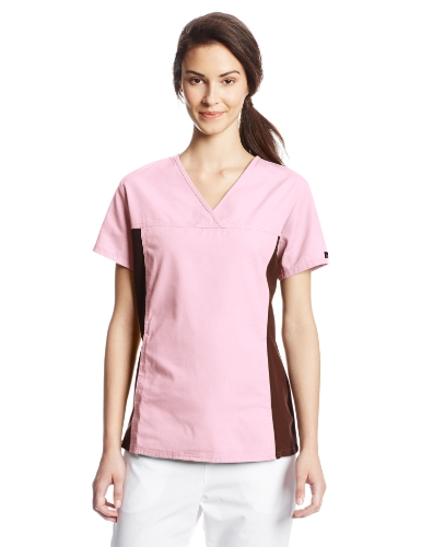 Cherokee Women's Scrubs Flexibles Contrast Knit Panel Top