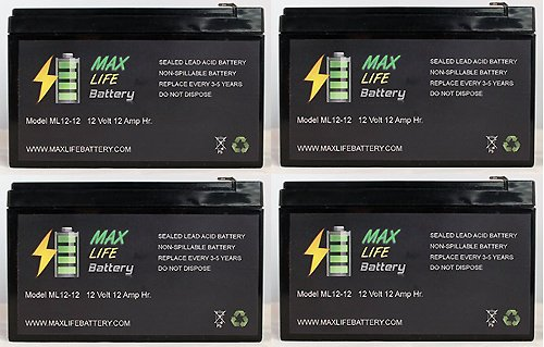 12V 12Ah F2 New Battery For Ezip Scooter 750, 900, 1000 - 4 Pack