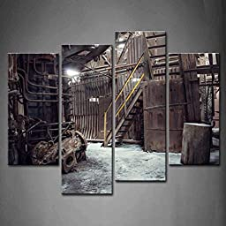 Modern Home Decoration painting 4 Panel Wall Art Abandoned Factory Industrial Background Machine Messy The Picture Print On Canvas Architecture Pictures piece