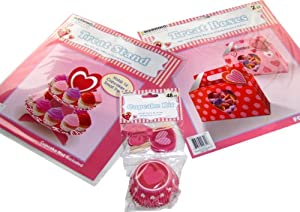 """Valentines Day Gifts for Her (3 Item Bundle): 2 Valentines Day Gift Box es with Heart Tags (7""""x6""""x4""""), Heart Shaped Treat or Cupcake Stand (10""""x10""""), and 48 Piece Heart Cupcake Kit (24 Cups and 24 Picks) with Heart Designs --- Great Valenines Day Gift for Her, Valentines Day Gift Ideas, Valentines Day Box, Valentines Day Gift for Mom, Valentines Day Gift for Grandma, Valentines Day Gift for Girlfriend, Valentines Day Boxes, Valentines Day Gifts for Mom, Valentines Day Gifts for Grandma, Valentines Day Gifts for Girlfriend"""