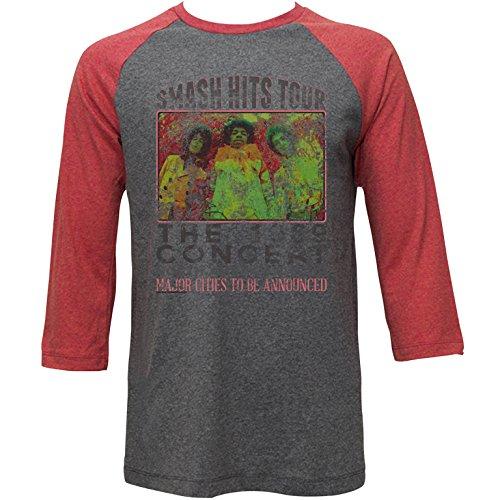 Jimi Hendrix-Poster Raglan-T-Shirt da uomo Old Arctic Gray/Rusty Red Medium