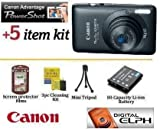 Canon PowerShot SD1400 IS SD1400IS Digital ELPH Camera (Black) 14.1MP With The Canon Complimentary Accessory Kit Includes Spare Extended Life Battery Pack, LCD Screen Protectors + Flexible Mini tripod + More