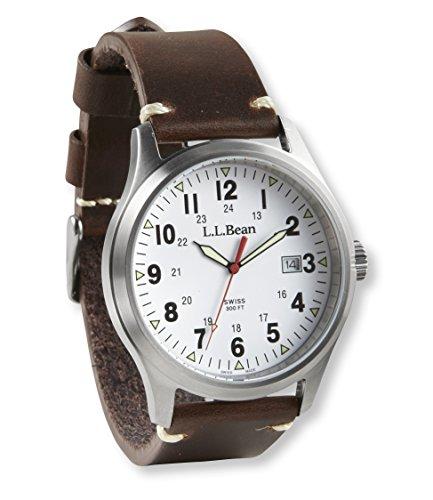 L.L.Bean Men'S Vintage Field Watch, 42Mm Leather Brown