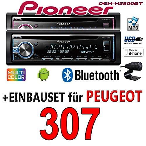 Peugeot 307 - Pioneer DEH-X5800BT - CD/MP3/USB Bluetooth Autoradio - Einbauset