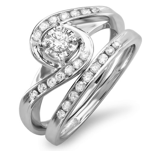 0.55 Carat (ctw) 10k White Gold Round Diamond Ladies Swirl Bypass Bridal Ring Engagement Matching Band Set 1/2...