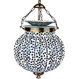 EarthenMetal Handcrafted Pumpkin Shaped Mosaic Design Blue Coloured Glass Hanging Light