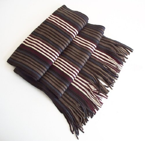 Mens Soft Touch Winter Scarf (Pattern 6 - Brown Maroon Thin Stripes)