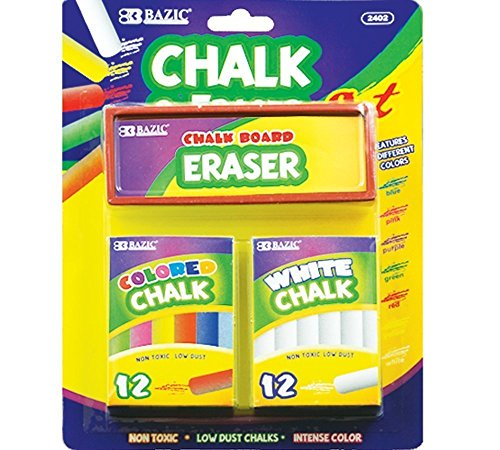 BAZIC 12 Color & 12 White Chalk w/ Eraser Set, Box Pack of 2