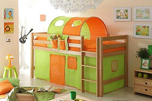 Hochbett Timmy G Buche massiv Natur grün-orange