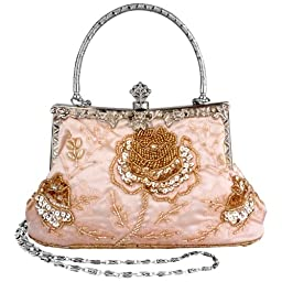 MG Collection Ginny Seed Beaded Rose Evening Purse Clutch Bag, Champagne, One Size
