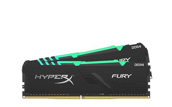 HyperX Fury 16GB 2666MHz DDR4 CL16 DIMM (Kit of 2) 1Rx8 RGB (Tamaño: 16GB kit (2 x 8GB))