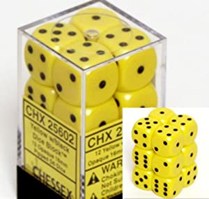 Chessex Dice d6 Sets: Opaque Yellow with Black - 16mm Six Sided Die (12) Block of Dice