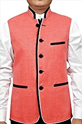 Adam In Style Melon Red Jute Jacket For Men (Size: 40)