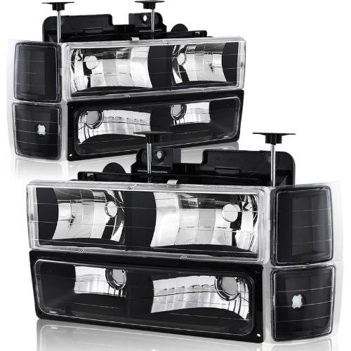 94-98 Chevy Trucks, 95-99 Chevy Tahoe Black Housing Headlight, Bumper Light, and Corner Light 8PC Combo (97 Chevy Hid Headlights compare prices)