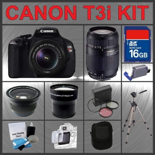 Canon EOS Rebel T3i 18MP Digital Camera with EF-S 18-55mm IS II Lens & Tamron AF 75-300mm f/4.0-5.6 LD for Canon Digital SLR Cameras + 16GB Memory Card + 3 Piece Lens Filter Kit + 2.0 USB SD Memory Card Reader + Wide Angle Lens with Macro Extension + Tele