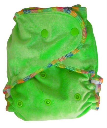 Natural Bamboo Velour Fitted One Size Cloth Diaper w/ 2 Inserts - Lime