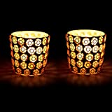 EarthenMetal Handcrafted Golden Beads Decorated Tealight Holder (Candle Light Holder) - Set Of 2