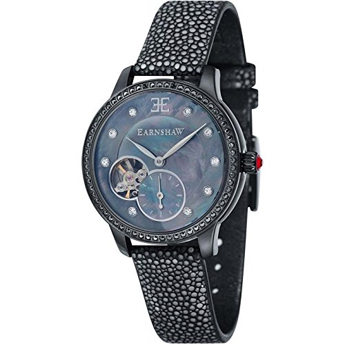 Thomas Earnshaw Automatic Australis Women's Mechanical Watch with Black Dial Analogue Display and Black Strap ES-8029-09