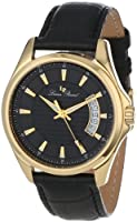 Lucien Piccard Men's 98660-YG-01 Excalibur Black Textured Dial Black Leather Watch by Lucien Piccard