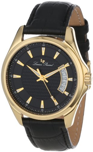 Lucien Piccard Men's 98660-YG-01 Excalibur Black Textured Dial Black Leather Watch
