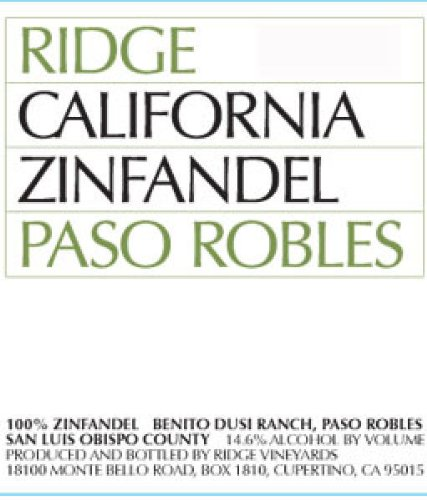 2010 Ridge 'Paso Robles' Zinfandel 750ml