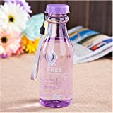 ポータブル水カップ夏季学生カップリークプルーフプラスチックウォーターボトルのカップルは、表紙を付けてボトルをフロスト壊れていない壊します (パープル)