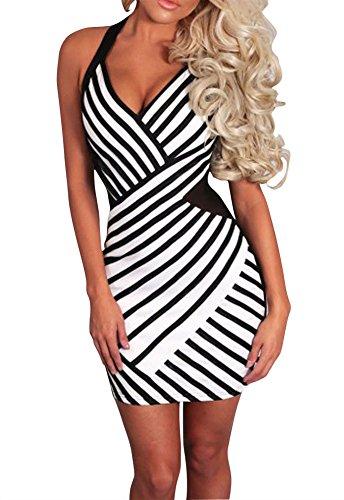 Sexy Womens Black and White Stripe Mesh Halterneck Party Club Mini Dress (XL, Black+White)