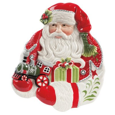 Fitz And Floyd Winter White Holiday Santa Canape Plate