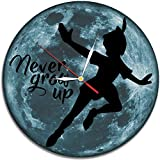 Peter Pan Disney Decal Waterproof Color Modern Sticker Wall Clock - Decorate your home with Colored Moon Art - Best gift for kids, girls and boys- Win a prize for a feedback
