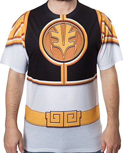 Men's White Mighty Morphin Power Rangers Sublimation Costume Shirt