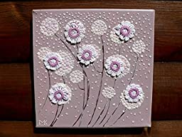 Mosaic Wall Art Original Painting Crochet Flowers EggShell Mixed Media Collage Home Decor
