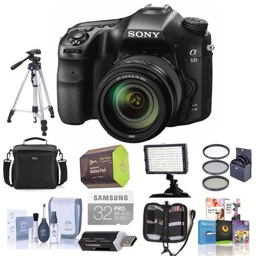 Sony-a68-DSLR-Camera-with-18-55mm-f35-56-DT-SAM-II-Lens-Bundle-With-Camera-Case-32GB-SDHC-U3-Card-Spare-Battery-Tripod-Video-Light-Cleaning-Kit-Memory-Wallet-Software-Package-And-More