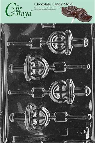Cybrtrayd B036 Pacifier Lolly Chocolate Candy Mold With Exclusive Cybrtrayd Copyrighted Chocolate Molding Instructions front-986855