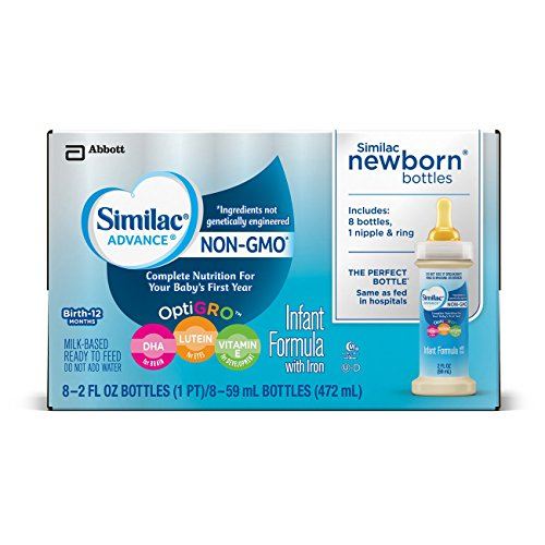 Similac Advance Non-GMO Infant Formula Newborn Bottles with Nipple and Ring, 2 fl oz, 8 bottles (Pack of 6) (Ready Made Formula compare prices)