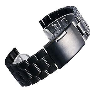 YISUYA negro 20 mm Correa de Acero inoxidable correa de muñeca de 2,0 cm individual-multiángulos para cierre plegable-más de marca YISUYA