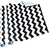 Thasaba Contact Paper Self Adhesive Shelf Liner, 18 by 16 Inch, Black Chevron, 2 Pack
